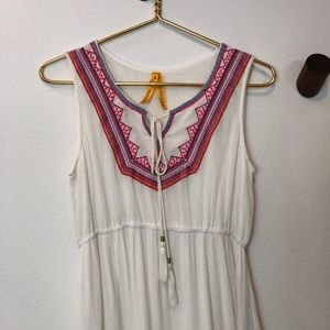Dresses & Skirts - White Aztec Pattern Embroidered Summer Dress